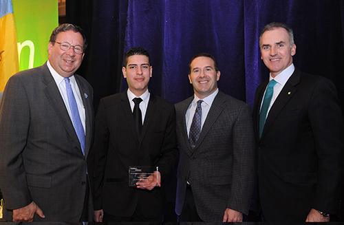 La Salle University student Brian Vazquez (second from left) recipient of the Comcast Corporation's Gustave Amsterdam Leadership Award. Pictured with Vazquez are: Comcast Executive Vice President David L. Cohen (first on the left), Trey Ulrich, Assistant Vice President for Alumni Relations (2nd from right), and Daniel K. Fitzpatrick, La Salle alum and President and CEO of Citizens Bank and Chairman of the Board of the Greater Philadelphia Chamber of Commerce (far right).