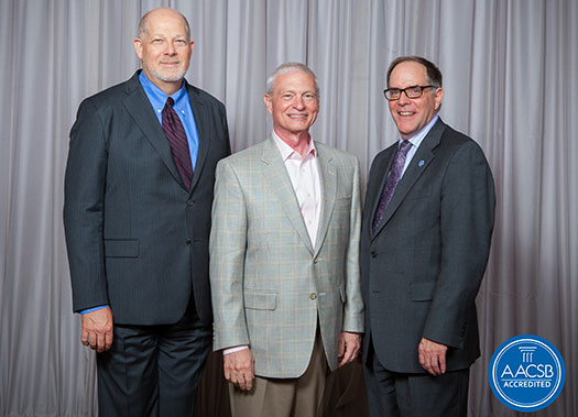 from left:  Tom Robinson, President and CEO, AACSB, Gary A. Giamartino, Dean, La Salle University School of Business, and Robert Reid, Executive Vice President and Chief Accreditation Officer, AACSB.