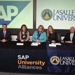 La Salle University President Colleen Hanycz, Ph.D., accompanied by Provost Brian Goldstein, Ph.D., and School of Business Dean Gary Giamartino, Ph.D., joined President of SAP North America Jennifer Morgan and Head of SAP Global Alliance Ann Rosenberg for the SAP University Alliance Program signing ceremony.