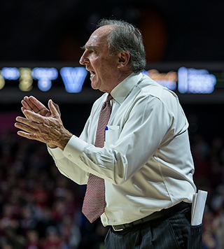 Fran Dunphy coaches from the sidelines