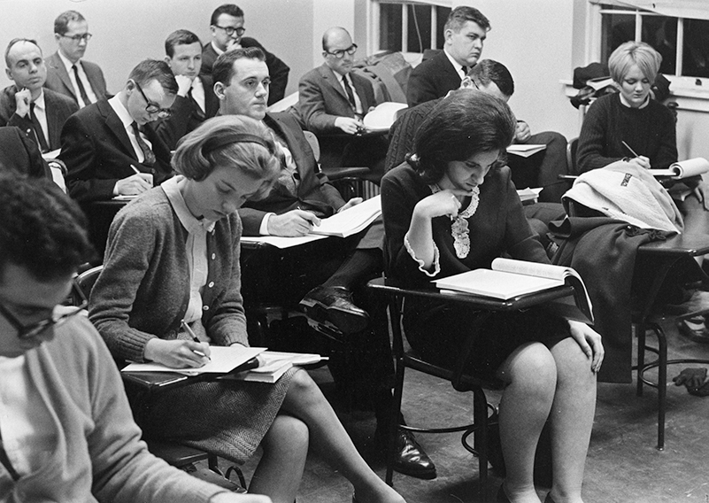 Female and male students in classes together in 1967 at La Salle
