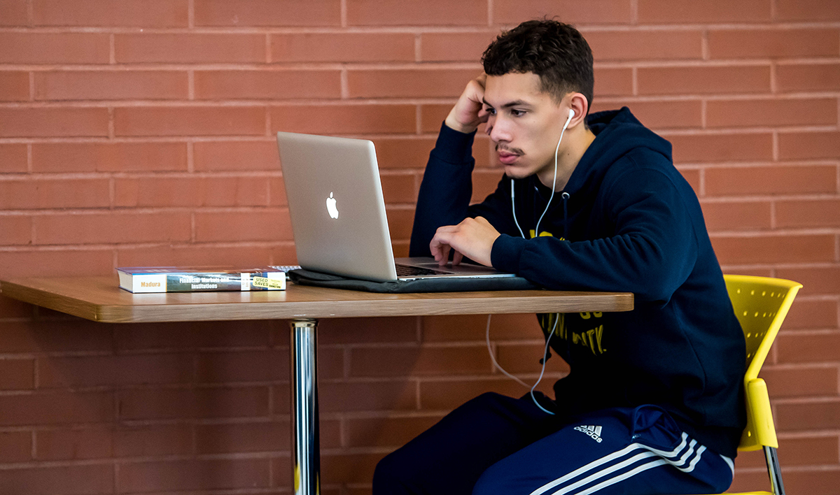 Student working on a computer