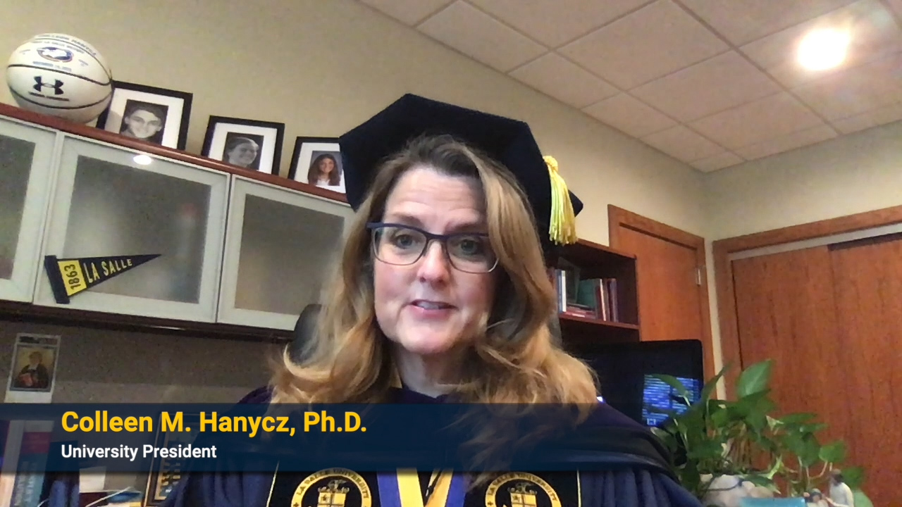 President Hanyczgives remarks during Virtual Celebration