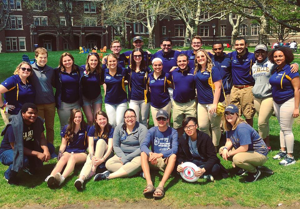 Brandon Robbins-Cartegna pictured with fellow Admissions tour guides.