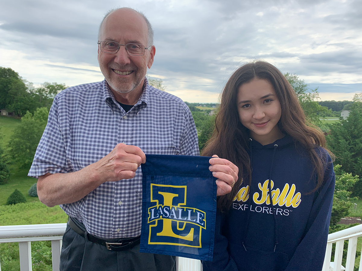 Clare Park with her grandfather, Frank Batavick, La Salle University Class of '67