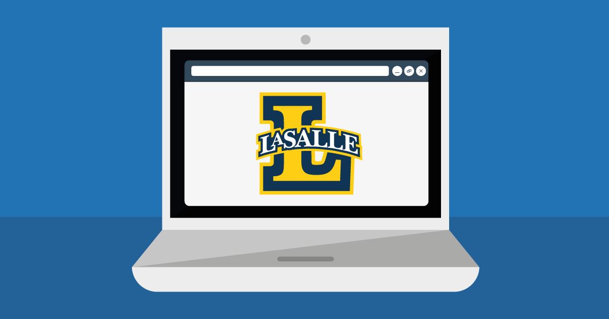 Computer with La Salle L logo