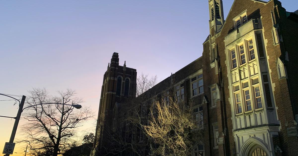 La Salle's College Hall at dawn.