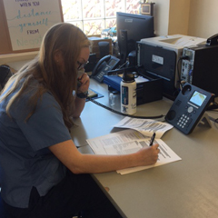 La Salle University nursing student Emily Morris working as a contact tracer during the Fall 2020 semester.