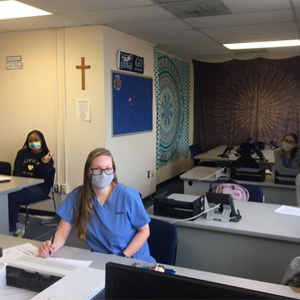 La Salle University nursing and social work students working on behalf of the school's contact tracing program during the Fall 2020 semester.
