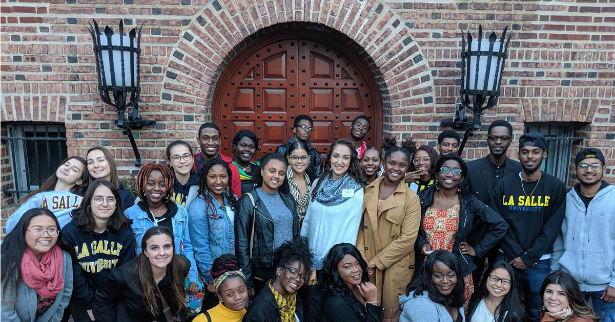 A photo featuring members of La Salle University's Cultural Exploration and Diversity Living Learning Community.