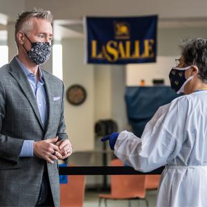 Scott Cook at La Salle University's COVID-19 testing site.