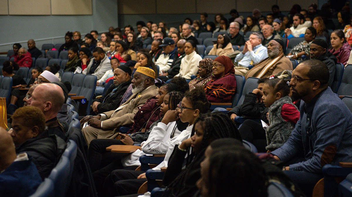 Attendees from the La Salle University and Northwest Philadelphia communities gather at Founder's Hall Auditorium for the ninth annual Martin Luther King Jr. Interfaith Service, held in January 2020.