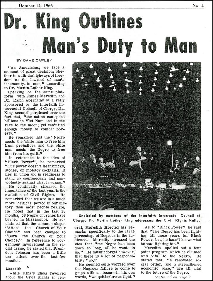 Clipping from student newspaper about Martin Luther King's visit to La Salle