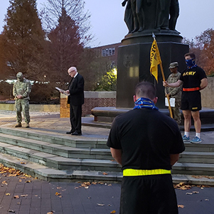 Br. Joseph Willard, FSC, advisor of La Salle's Army ROTC program, leads a Veterans Day 2020 prayer service at the University of Pennsylvania with ROTC students from La Salle, Penn, and Drexel.