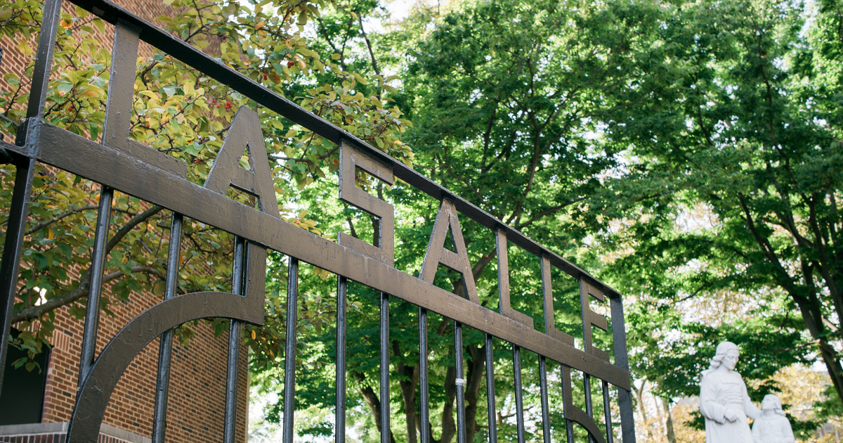Image of the front gate at La Salle University.