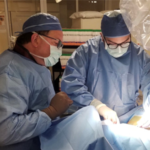 La Salle MBA student Nicholas DiGregorio performs a pacemaker implantation with Gary Barkocy DO, FACC, FSCA during DiGregorio's rotation at Heart to Heart Cardiovascular Associates in Nacogdoches, Texas.