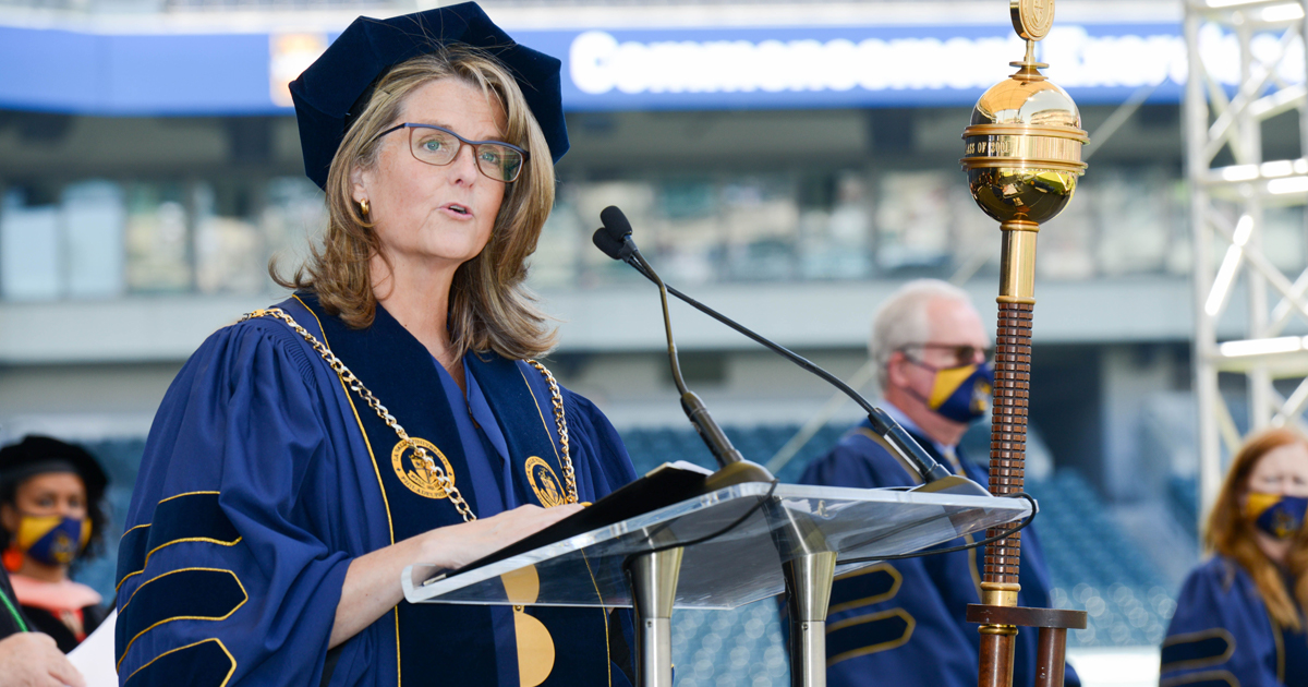 Image of La alle University President Colleen Hanycz, Ph.D., at the University's commencement ceremonies at Lincoln Financial Field in Philadelphia on May 15, 2021.