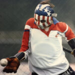Image of Diane Moyer, '80, Ph.D., playing for the United States field hockey team.