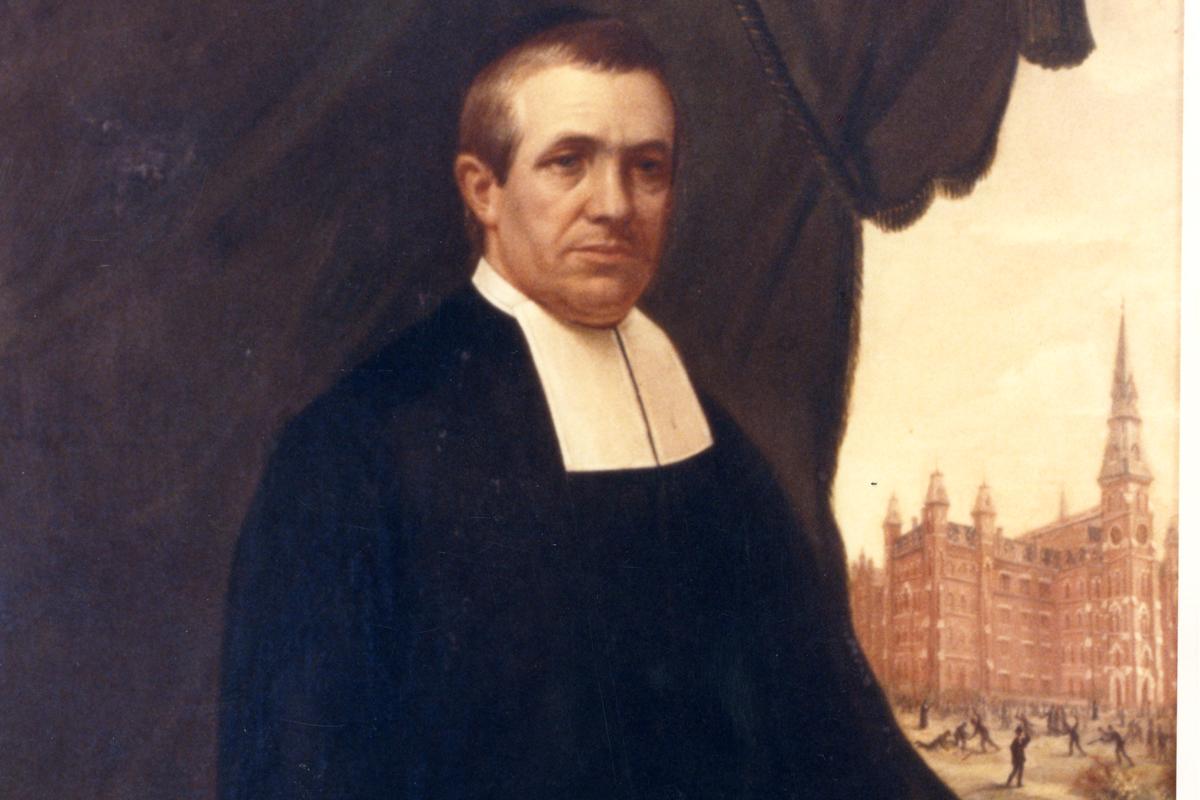 Archival image of La Salle University's first president, La Salle's first President, Brother Teliow Fackeldey, FSC.