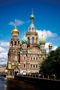 Facade of a cathedral on the side of a canal, Saviour-of-the-Blood Cathedral, St. Petersburg, Russia