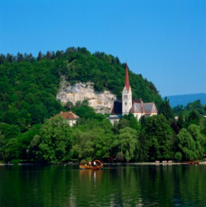 Saint Martin's Church on Lake Bled, Slovenia