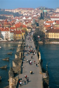 Mala Strana and the Charles Bridge over the River Vlata, Prague, Czech Republic
