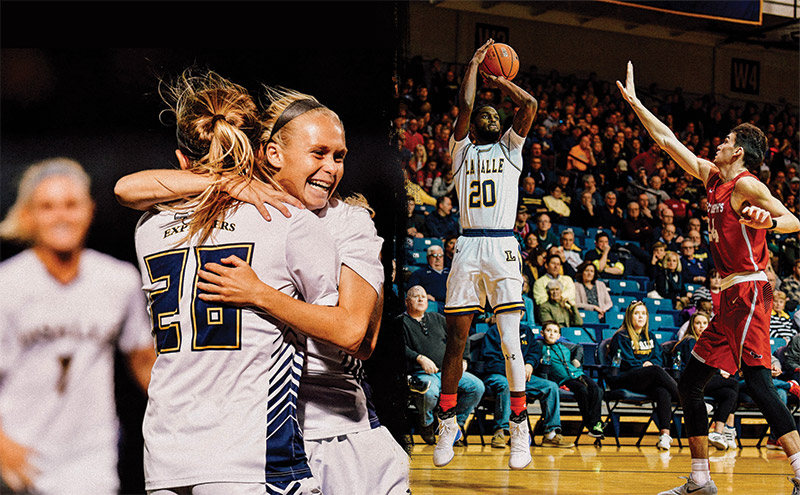 left half, female athletes hugging over win, right half, male basketball player shooting basketball with opponent attempting to block