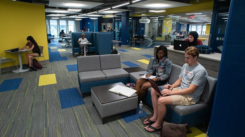 students studying in connelly library learning commons