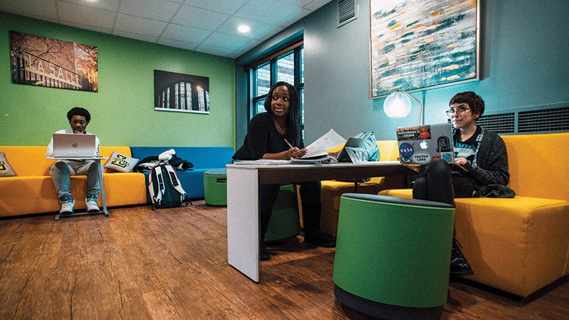 students studying in lounge