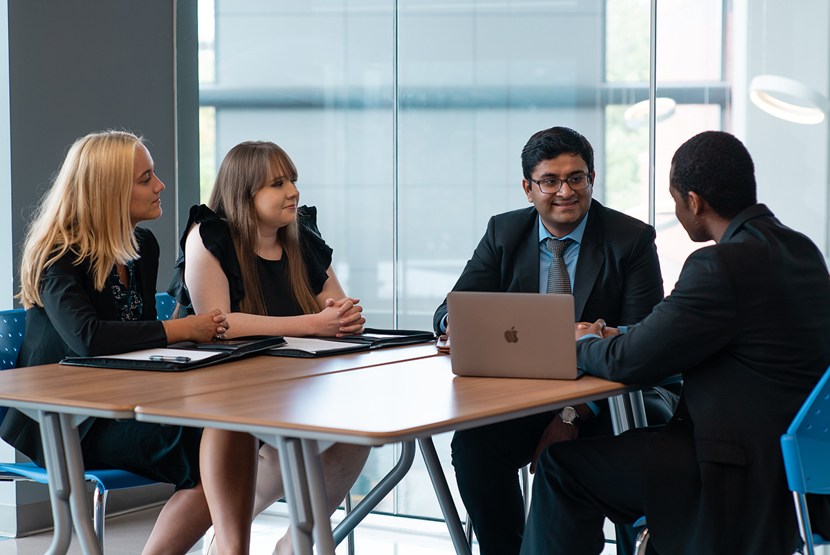 Students participating in Sales Discussion