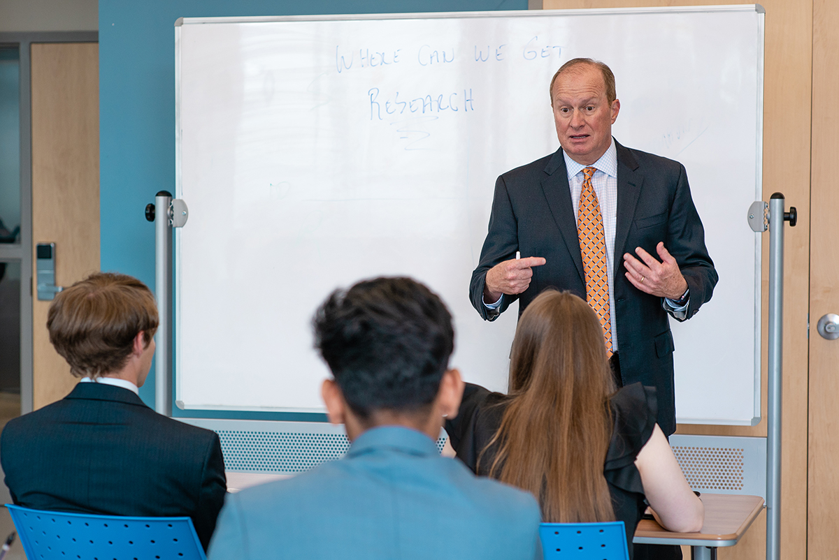 Professor DiPietro teaching Sales lab students