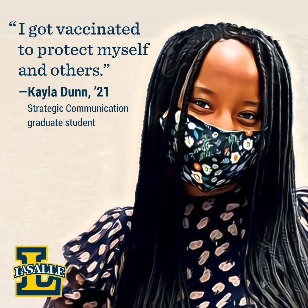 Kayla Dunn, '21, encourages getting the COVID-19 vaccine.