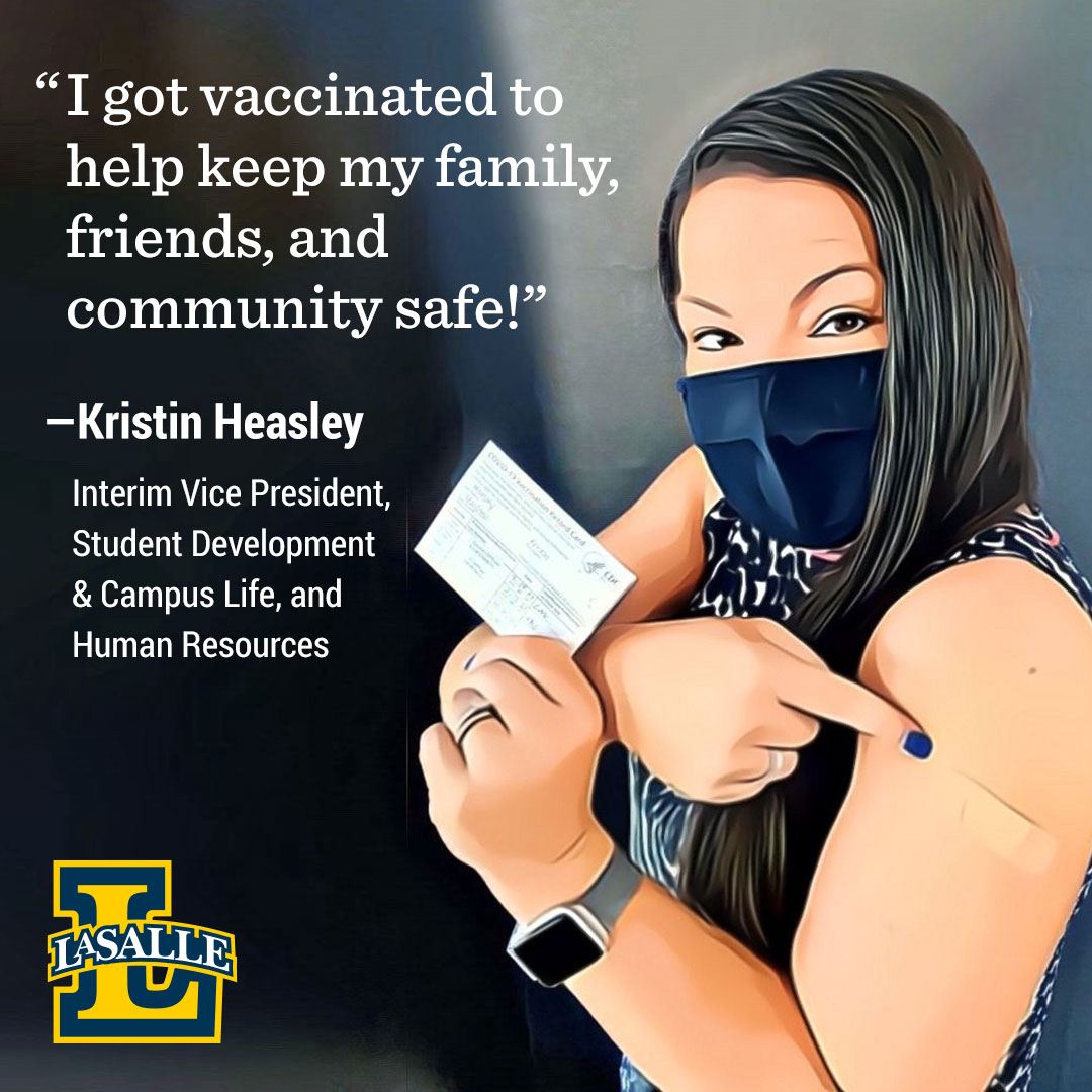 Kristin Heasley, AVP, Human Resources, Interim VP, Student Development and Campus Life getting the COVID-19 vaccine.