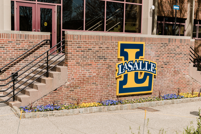 La Salle Legacy L outside of Administration Building