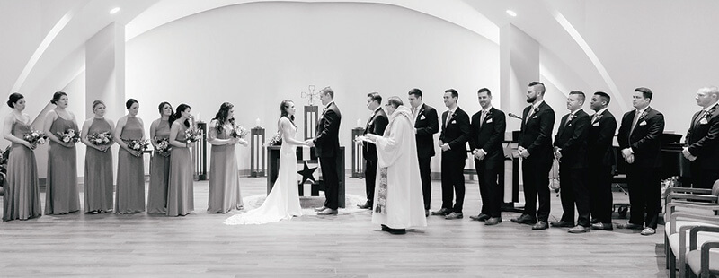 wedding ceremony in la salle chapel