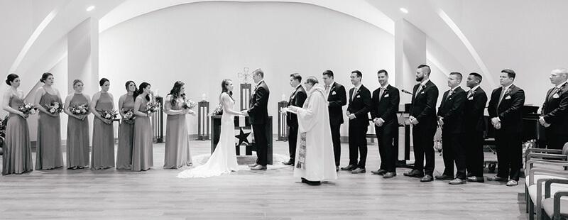 wedding ceremony in la salle chapel