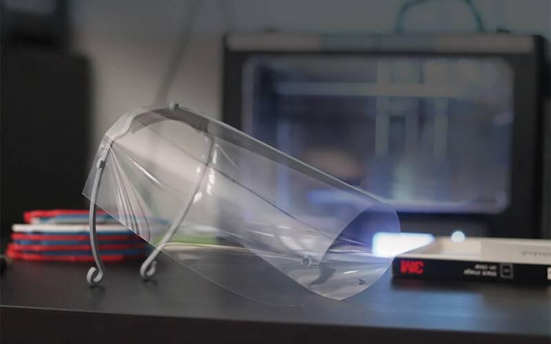 face shield on desk