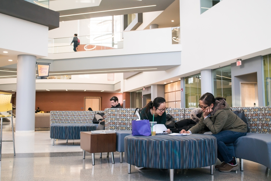 Business School interior, with students