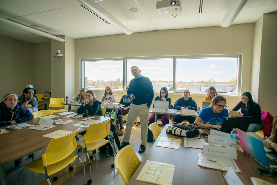 Business School interior, classroom with Dennis Kennedy